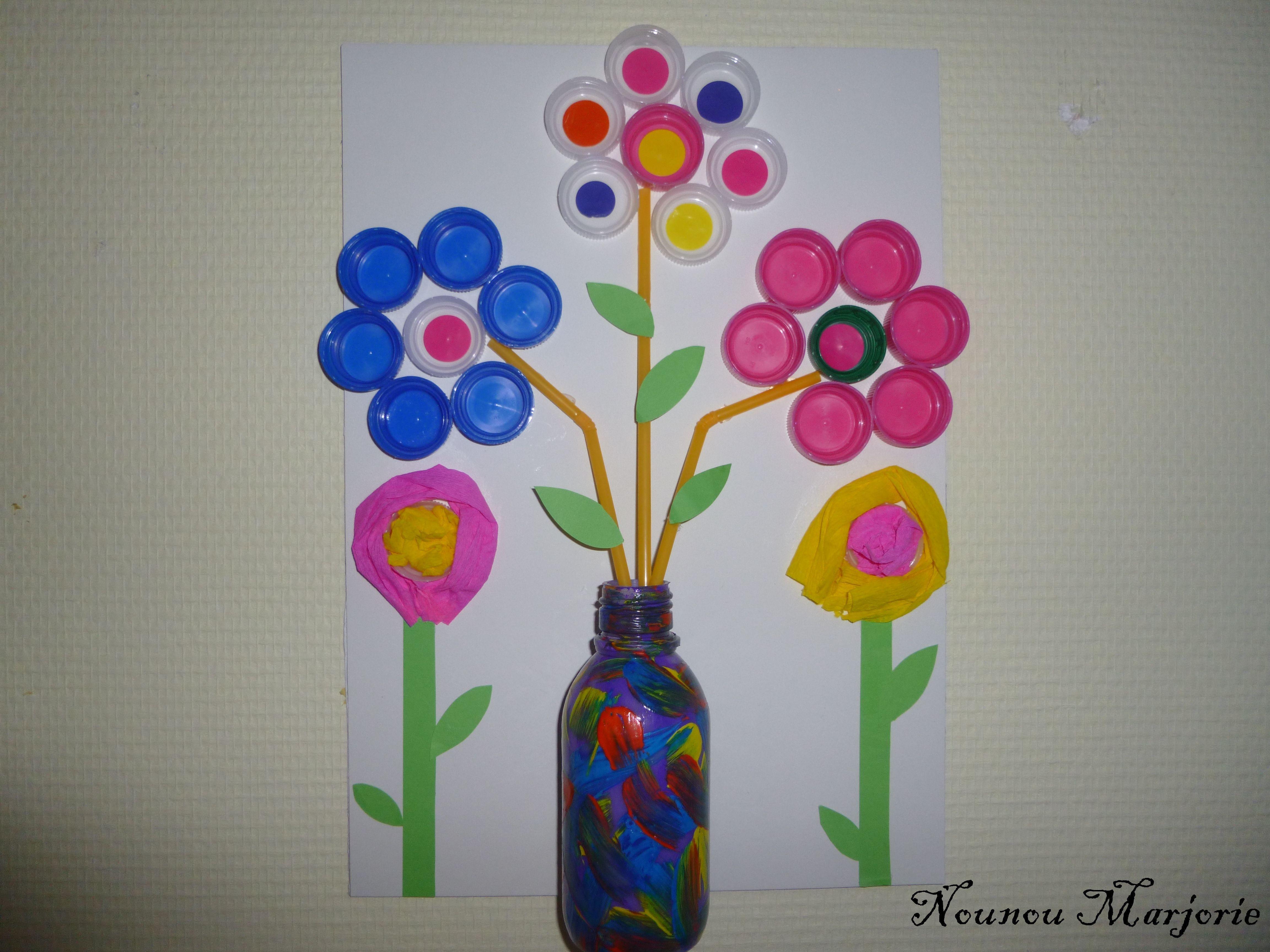 Bouquet de fleur en bouchon - Creation avec des bouchons ...